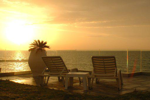 Sunset, Sea, Calm, Deck Chair, Water, Ocean, Sky