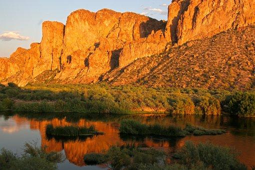 Dessert, Mountain, Nature, Landscape, Sunset, Rock