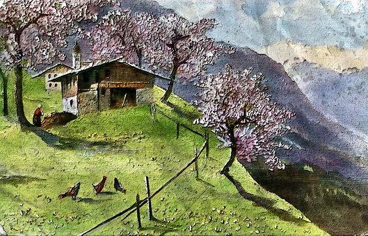 Farm On The Hillside, Autumn, Season, Outdoor, Farm