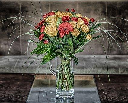 Bouquet Of Flowers, Roses, Gerberas, Red, Flowers