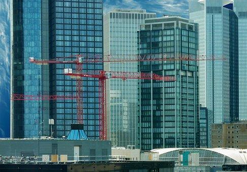 Architecture, Skyscrapers, Frankfurt, Ffm, Reflection