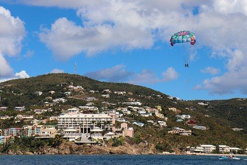 Parasailing, Hang Gliding, Sky, Blue, Parachute