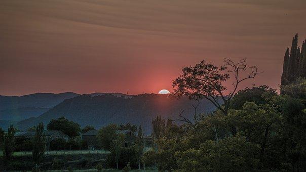 Solstice, Summer, Landscape, Dusk, Sunset, Dark