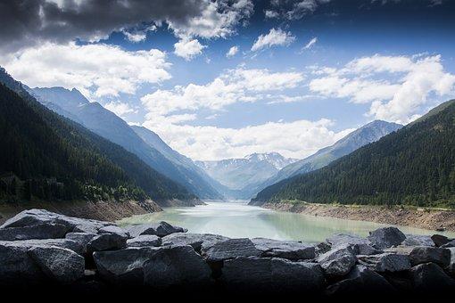 Lake, Austria, Europe, Water, Mountains, Alpine, Nature