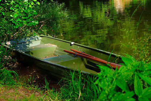 Rowing Boat, Boat, Old, Water, Rest, Rowing, Nature