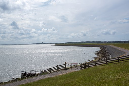 Dikes, Water, Netherlands, Holland, Landscape, Clouds