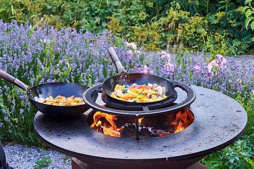 Wok, Pan, Potatoes, Grill, Fire, Fireplace, Fire Bowl