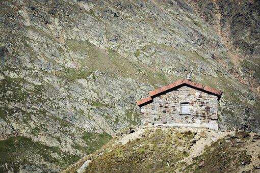 Hut, House, Landscape, Nature, Mountains, Rocks