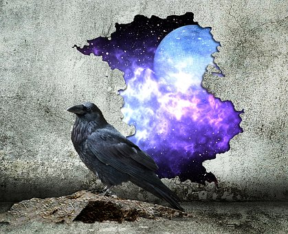 Hole In The Wall, Wall, Space, Sci-fi, Fantasy, Raven