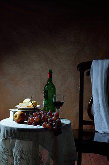 Wine Bottle, Glass, Table, Slice, Apple, Red, Grapes