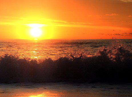 Sunrise, Ocean, Waves, Water, Sky, Red, Sun