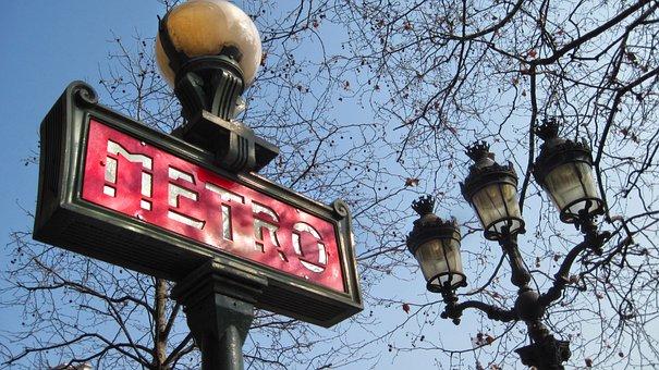 Paris, Metro Sign, Train, Lamp Post, Art Deco, Subway