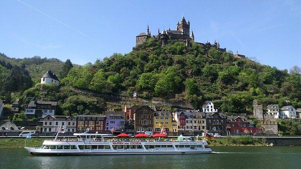 Water, Landscape, Waters, Boat, Germany, Rhine, Castle