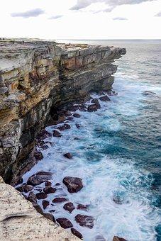 Cliff, Edge, Waves, Rocks, Landscape, Motion, Coast
