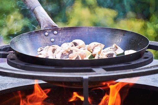 Wok, Pan, Mushrooms, Grill, Fire, Fireplace, Fire Bowl