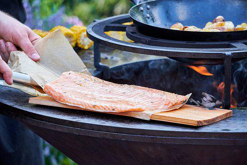 Fish, Fillet, Wooden Board, Grill, Barbecue, Meat, Hot