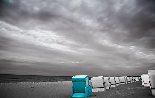Beach Chair, Blue, White, Grey, Splash Of Color