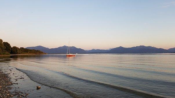 Beach, Lake, Sailing Vessel, Mountains, Chiemsee