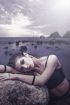 Fantasy, Portrait, Fantasy Portrait, Sea, Rocks, Sky