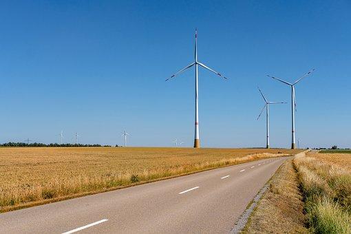 Road, Away, Fields, Agriculture, Pinwheel, Wind Energy