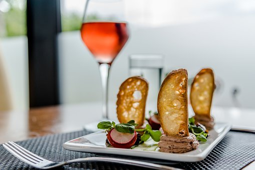 Luxury, Food, Wine, Rose, Starter, Baked Bread, Pate