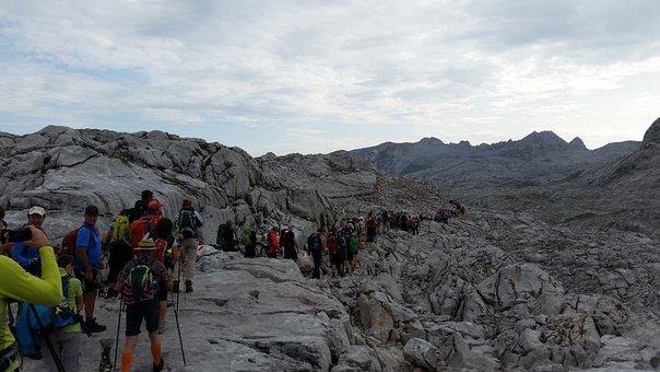 Mountains, Hiking, Mass Tourism, Human, Alpine, Hike