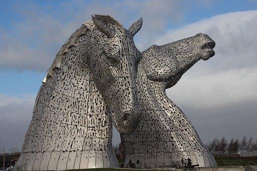 Kelpies, Hourse, Art, Scotland, Horse, Sculpture
