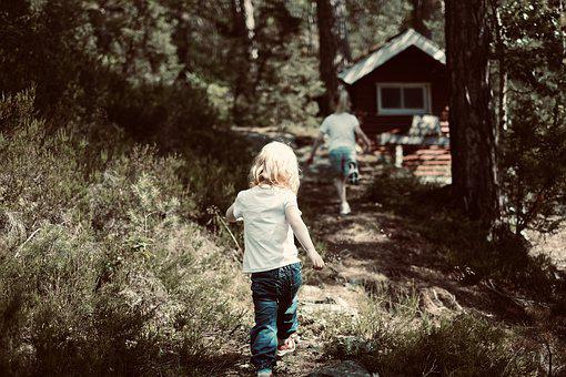 Summer, Kids, Forest, Running, People, Child, Girl