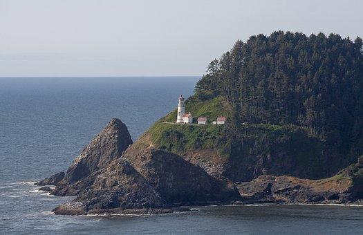 Oregon, Light House, House, Landscape, Lighthouse