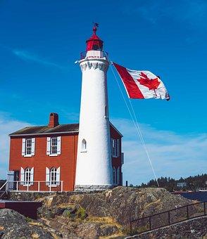 Lighthouse, Canada, Flag, Fort Rodd, Canada Day, Symbol