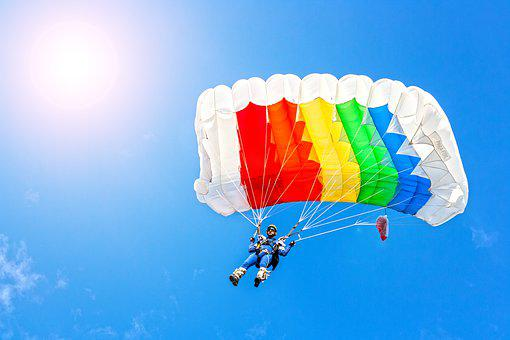 Parachutist, Parachute, Skydiving, Skipping, Jump