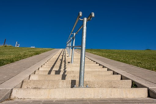 Stairs, Gradually, Rise, Railing, Stone Stairway