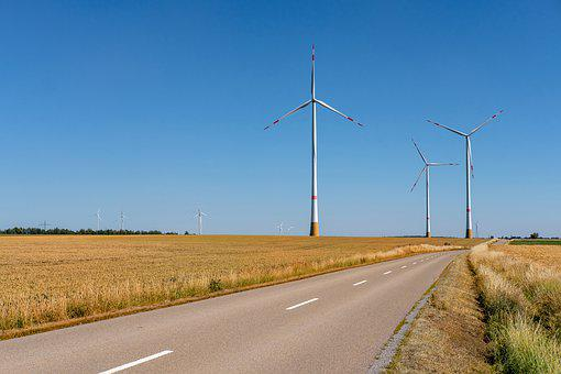 Road, Away, Fields, Agriculture, Pinwheel, Wind Energy