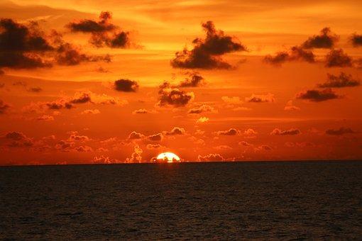 Sol, Eventide, Fire, Horizon, Clouds, Silhouette
