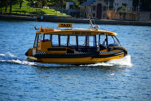 Taxi Boat, Small Boat, Passenger Boat, Blue Boat