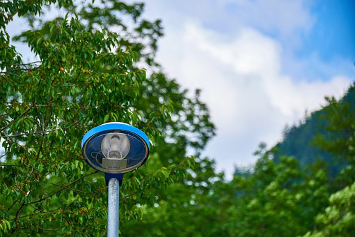Nature, Technology, Lamp, Blue, Sky, Light, Trees