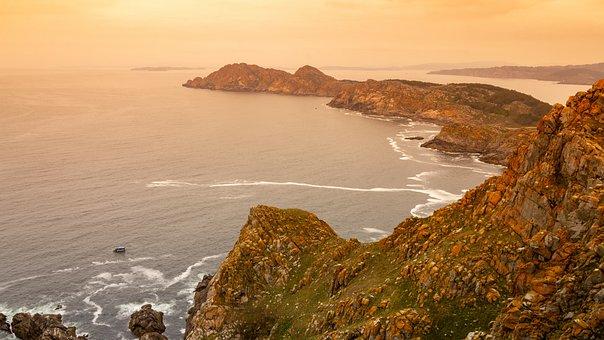 Cíes Islands, Galicia, Cliff, Fishing, Sea, Water