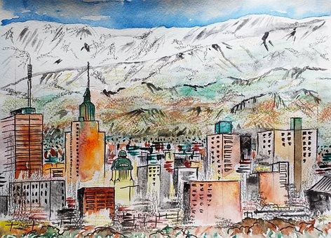 Argentina, Mendoza, City, Watercolor, Figure, Mountains