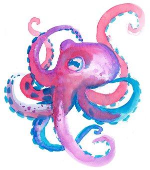 Octopus, Watercolor, Children's, Colorful, Ocean, Squid