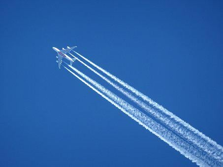 Aircraft, Contrail, Sky, Blue, Clear, Air, Flight, Wing