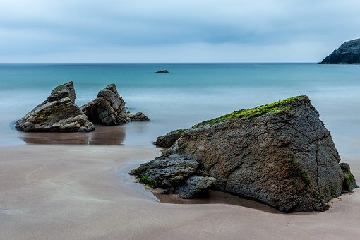 Sea, Scotland, Rest, Rock, Beach, Coast, Water, Blue