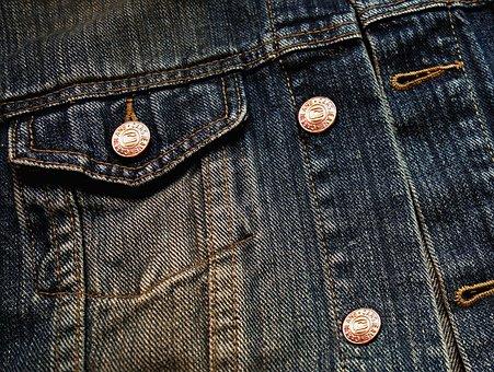 Denim, Fabric, Jacket, Jeans Buttons, Button