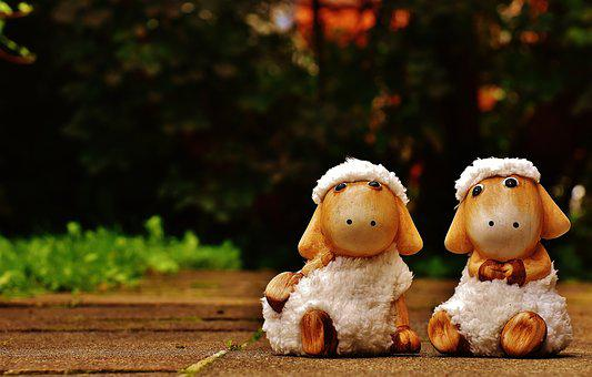 Sheep, Deco, Ceramic, Cute, Figure, Soft Toy, Wool