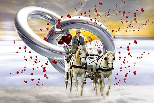 Wedding, Coach, Love, Heart, Marry, Bride And Groom