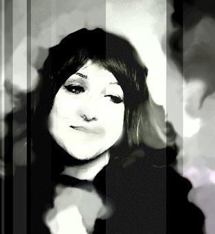 Woman, Distorted, Noise, Portrait, Female, Dark, Black