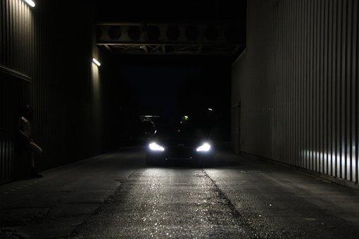 Audi R8, Girl, Breasts, Night, Light, Factory, Road
