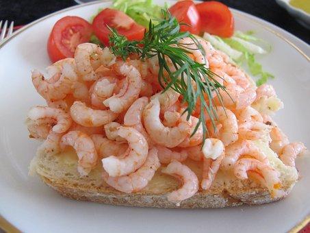 Fjord Shrimp, Spring, Peeled, Butter Bread, Food