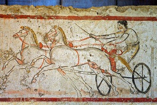 Paestum, Salerno, Fresco, Tomb Of The Diver, Chariot