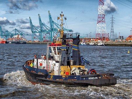 Antwerp, Belgium, Boat, Tugboat, Harbor, Bay, Water