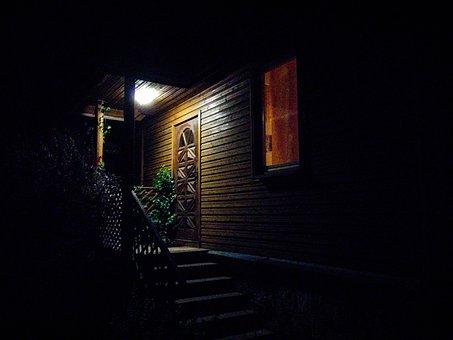 Veranda, Night, Light, Stairs, House, Wooden, Noise